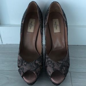 Valentino Lace Beaded Platform Heels
